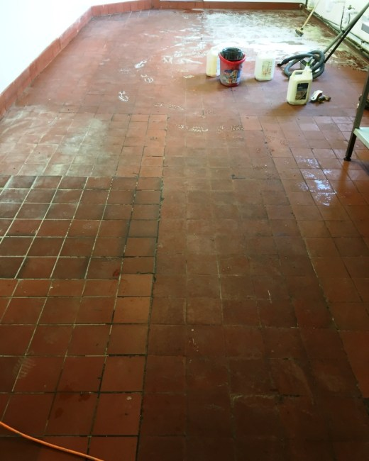 Quarry Tiles Before Cleaning Yeovil in Somerset