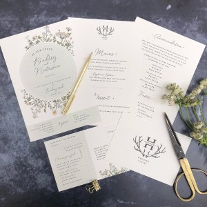 Wild flower wedding invitation flatlay