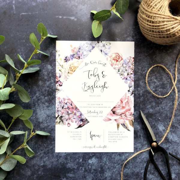 Floral Wedding Stationery Flatlay