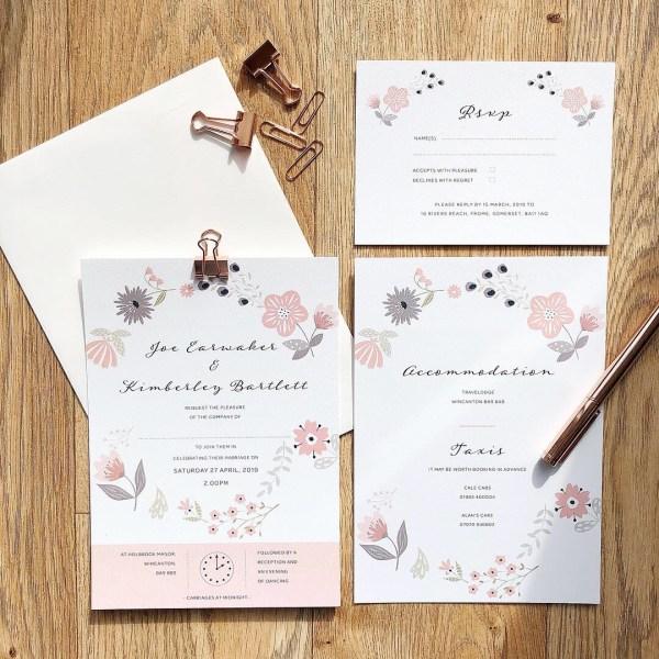 Modern floral wedding stationery flatlay