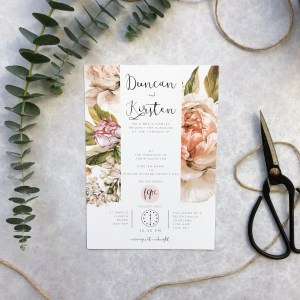 Pink Floral Wedding Invitation Flatlay