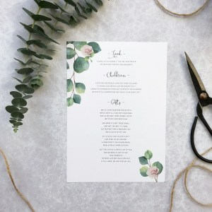 Wedding information card