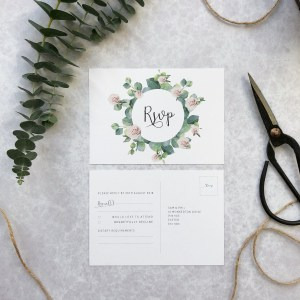 Rose and Eucalyptus Wedding RSVP Flatlay