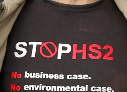 HS2 protest T-shirt.