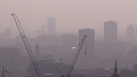 Polluted city scene.