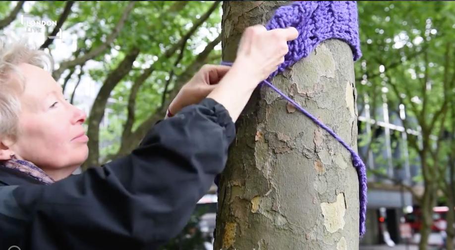 knitting on trees.