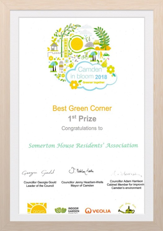 Best Green Corner, Camden in Bloom 2018 Somerton House