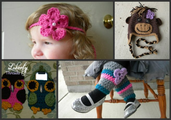 Liberty Threads Collage crochet headband leg warmers phone cover monkey hat