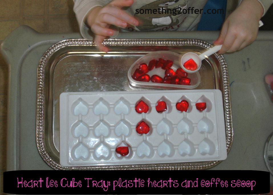 heart ice cube tray spooning
