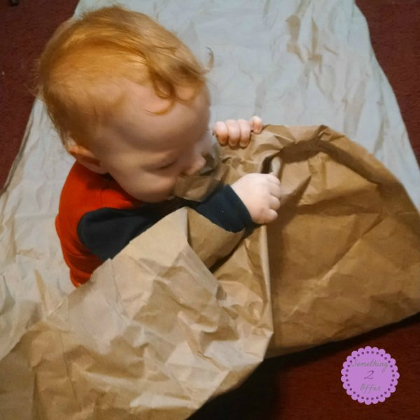brown paper sensory experience for baby
