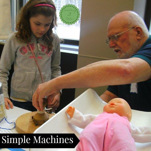 simple machines table at tech fest STEM