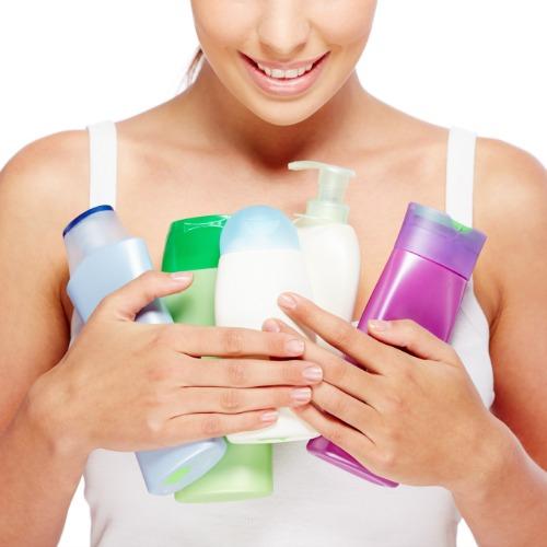 woman shower bottle
