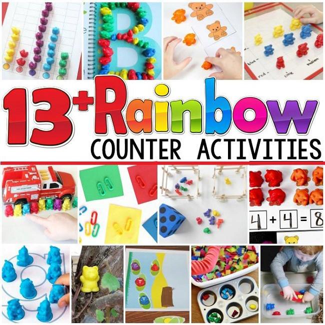 rainbow bear collage