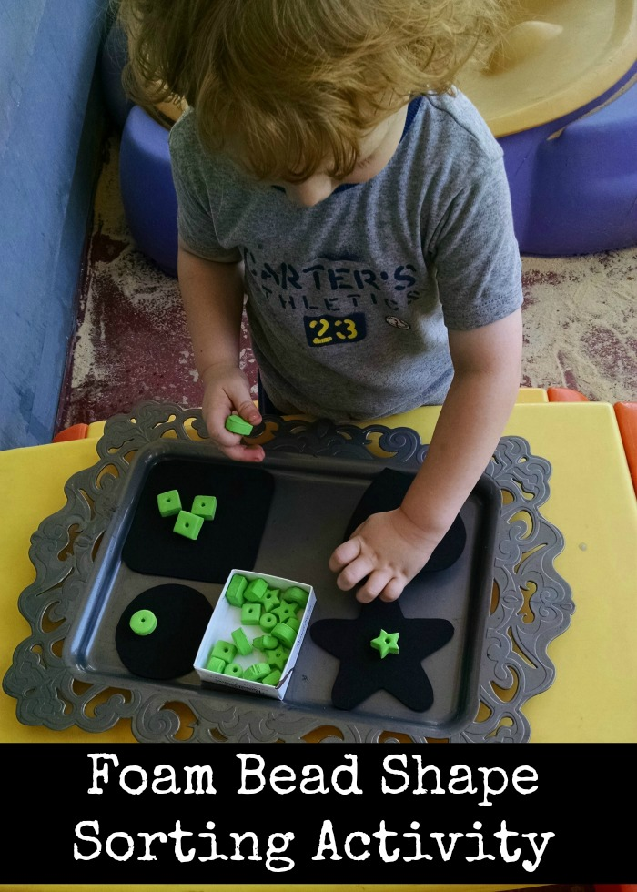 Simple Foam Shape Bead Sorting activity tray for toddlers and preschoolers!