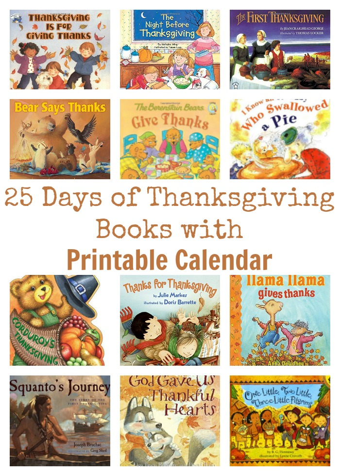 25 Days of Thanksgiving Books with Printable Calendar