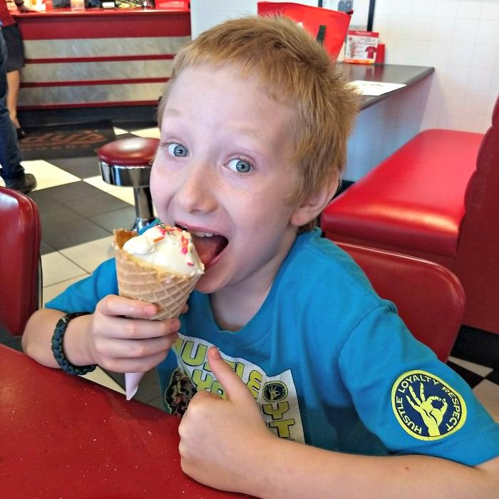 Freddy's Big Red Vanilla Frozen Custard cone with sprinkles