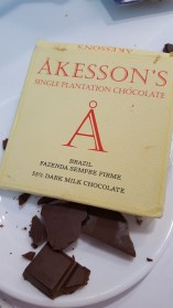 Akesson's Brazil 55% Dark Milk; Balanced with great snap, roasted, toasted, earthy with great sweetness