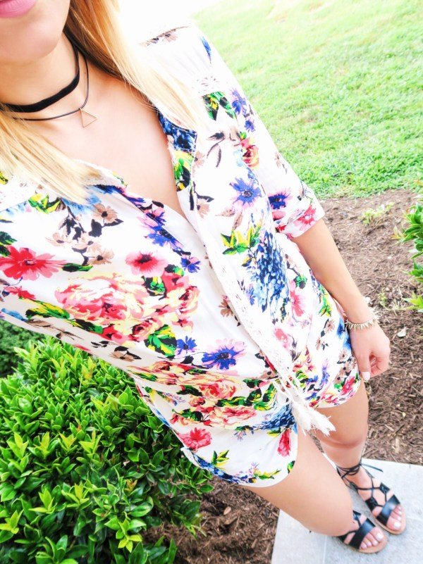 Annie Young from Something About Navy in Chelsea & Violet floral romper