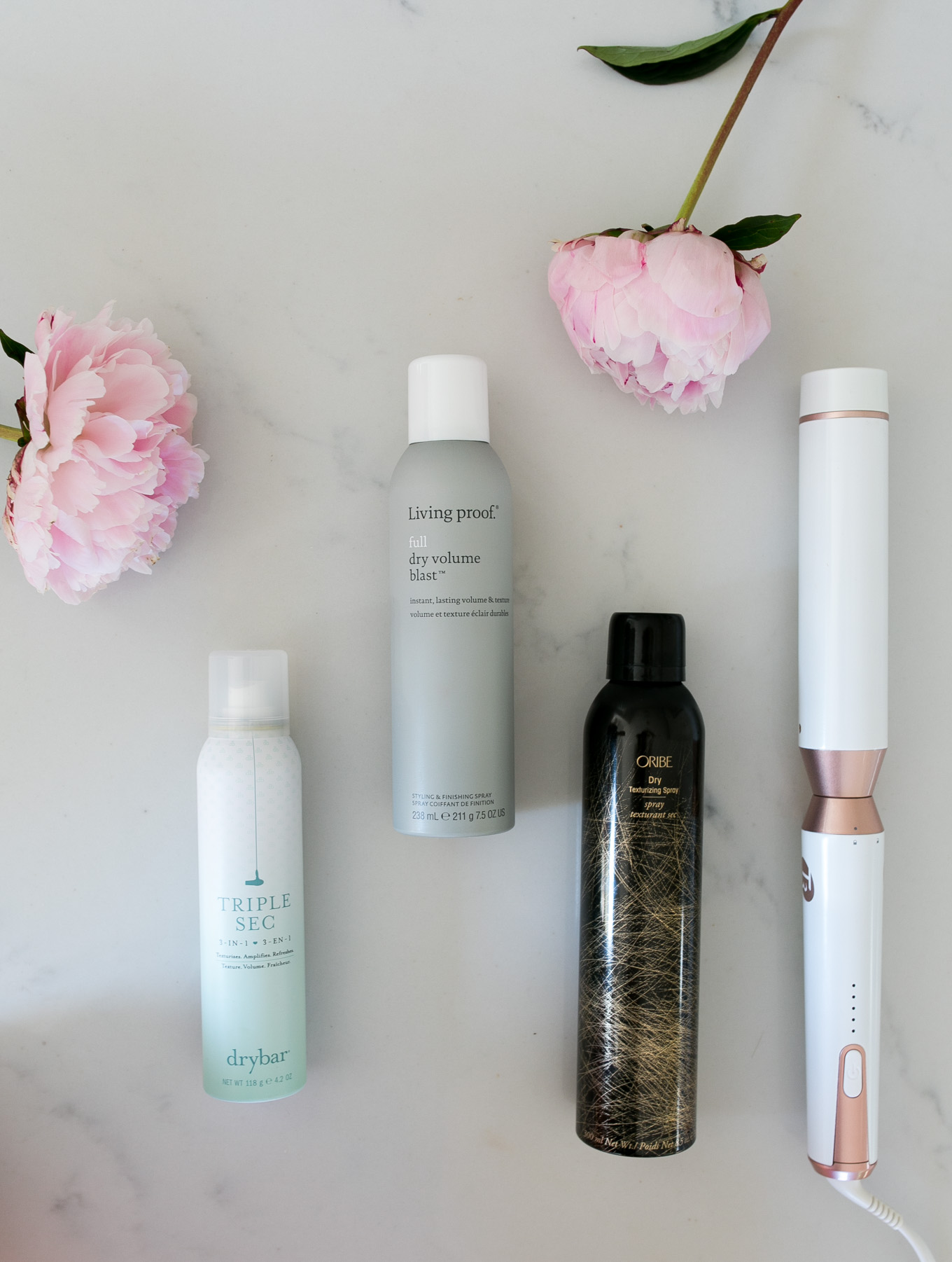 Blogger Daryl-Ann Denner of Something Beautiful share her favorite hair care products for full hair including Dry Bar Triple Sec, Living Proof Full Dry Volume Blast, and Oribe Dry Texturizing Spray and curls with the t3 micro whirl trio curling wand