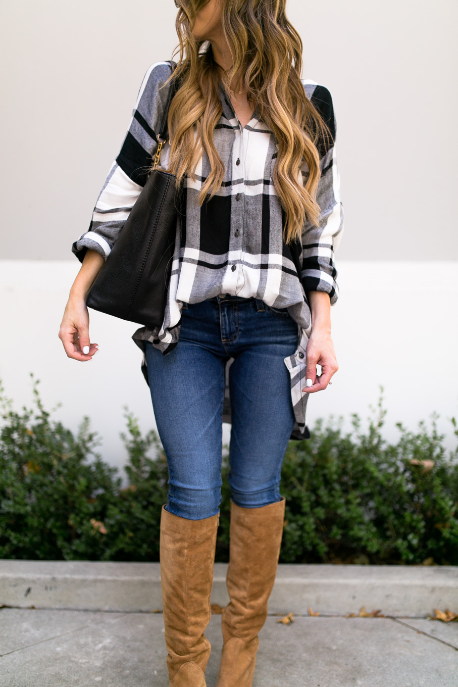 Daryl-Ann Denner wears Free People oversized plaid from Nordstrom Anniversary Sale 2017 with AG legging ankle jeans and Tory Burch black Frida tote