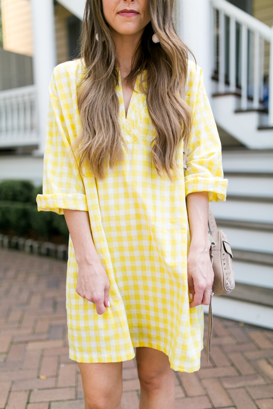 Daryl-Ann Denner wears Madewell yellow gingham dress and Soludos Lemon espadrilles