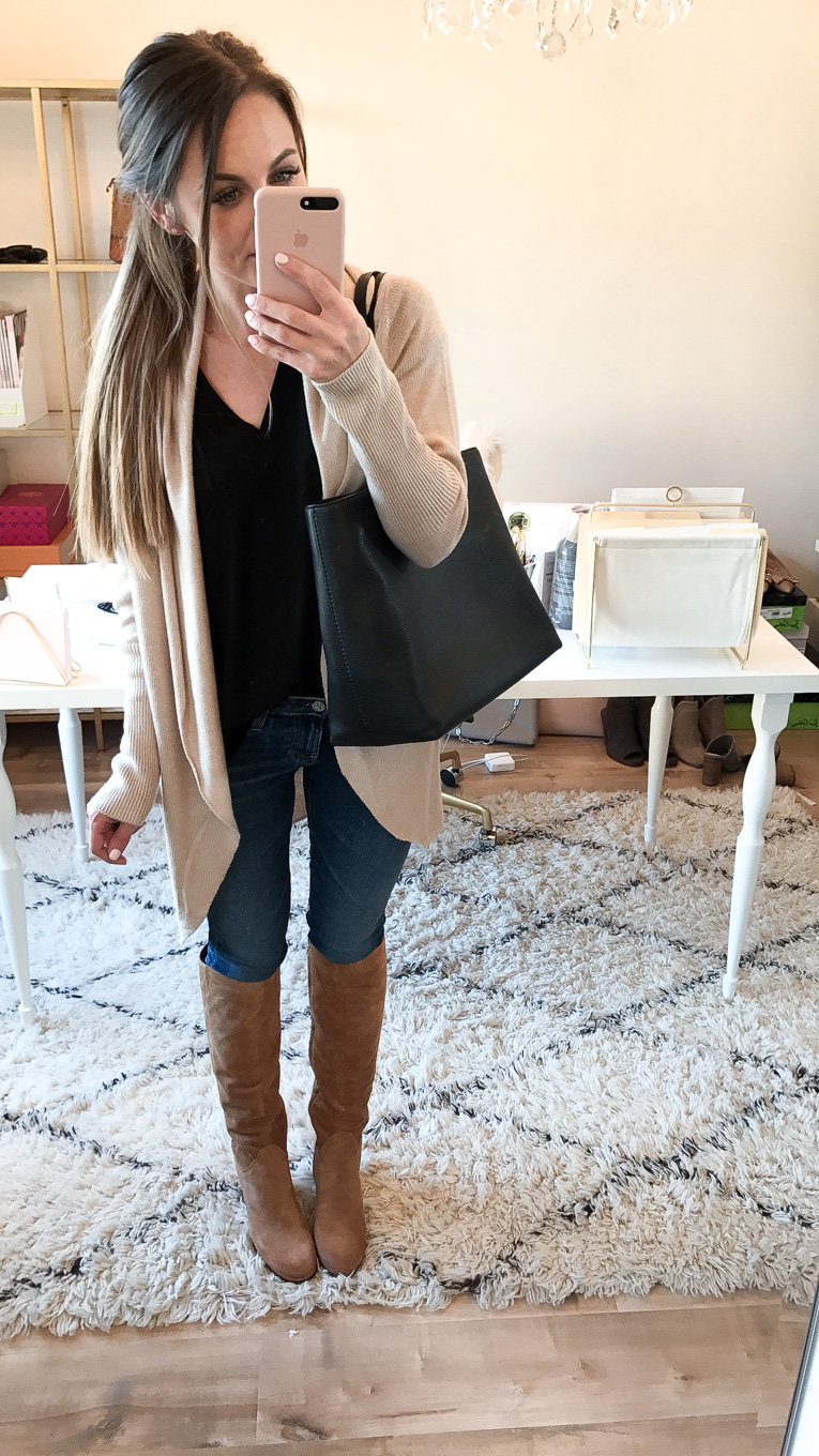 Daryl-Ann Denner wears shawl collar leith knit cardigan and Tory burch frieda bag from the nordstrom anniversary sale 2017