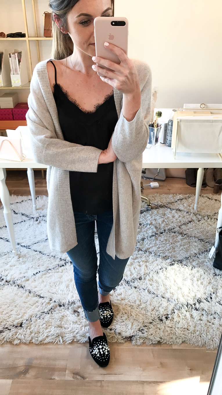 Daryl-Ann Denner wears cashmere three quarter sleeve cardigan and bp. lace trim cami from the nordstrom anniversary sale 2017