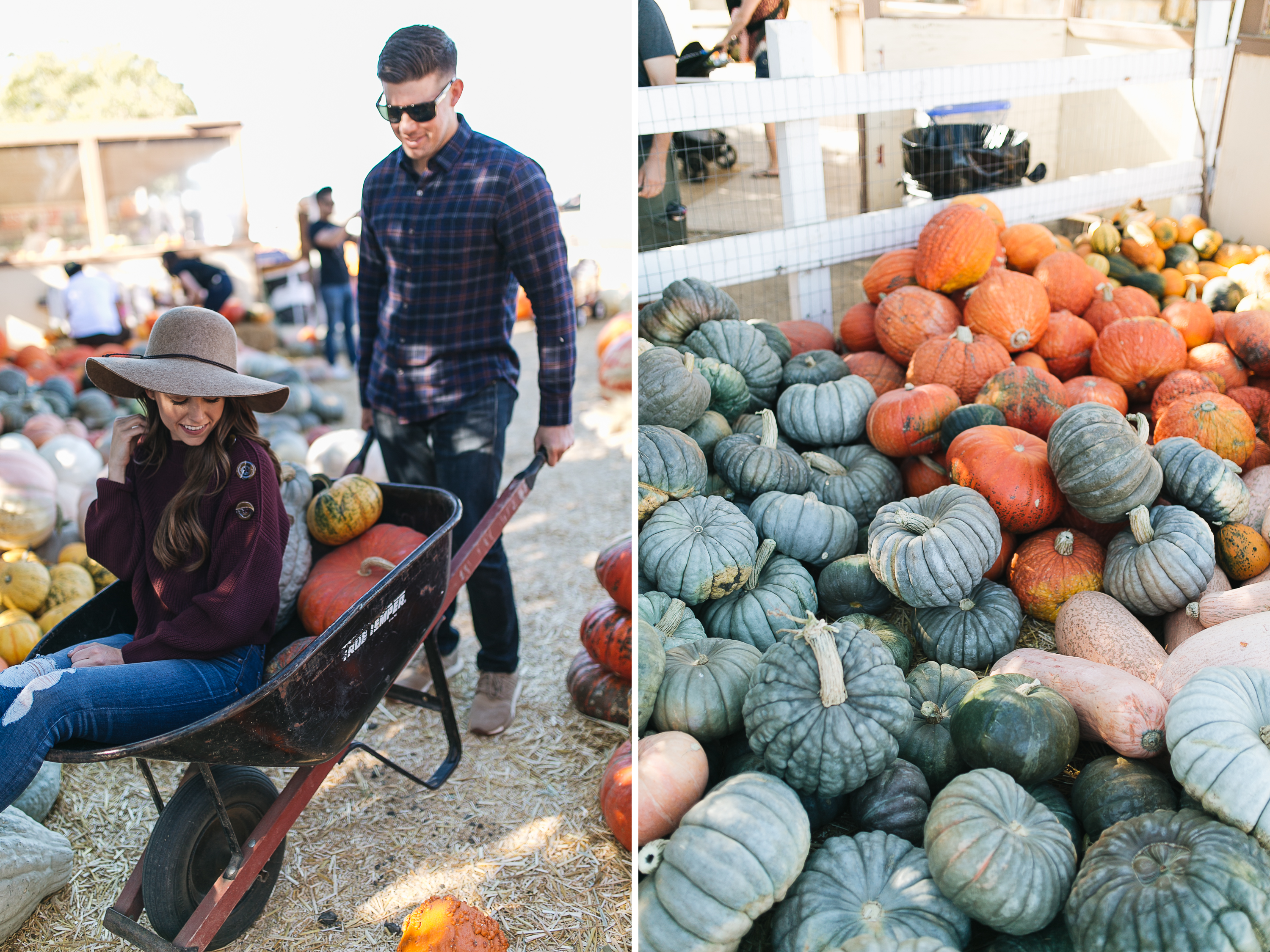 Style blogger Daryl-Ann Denner shares the key to coordinating outfits for a couple's shoot and wears Topshop sweater and hat at pumpkin patch