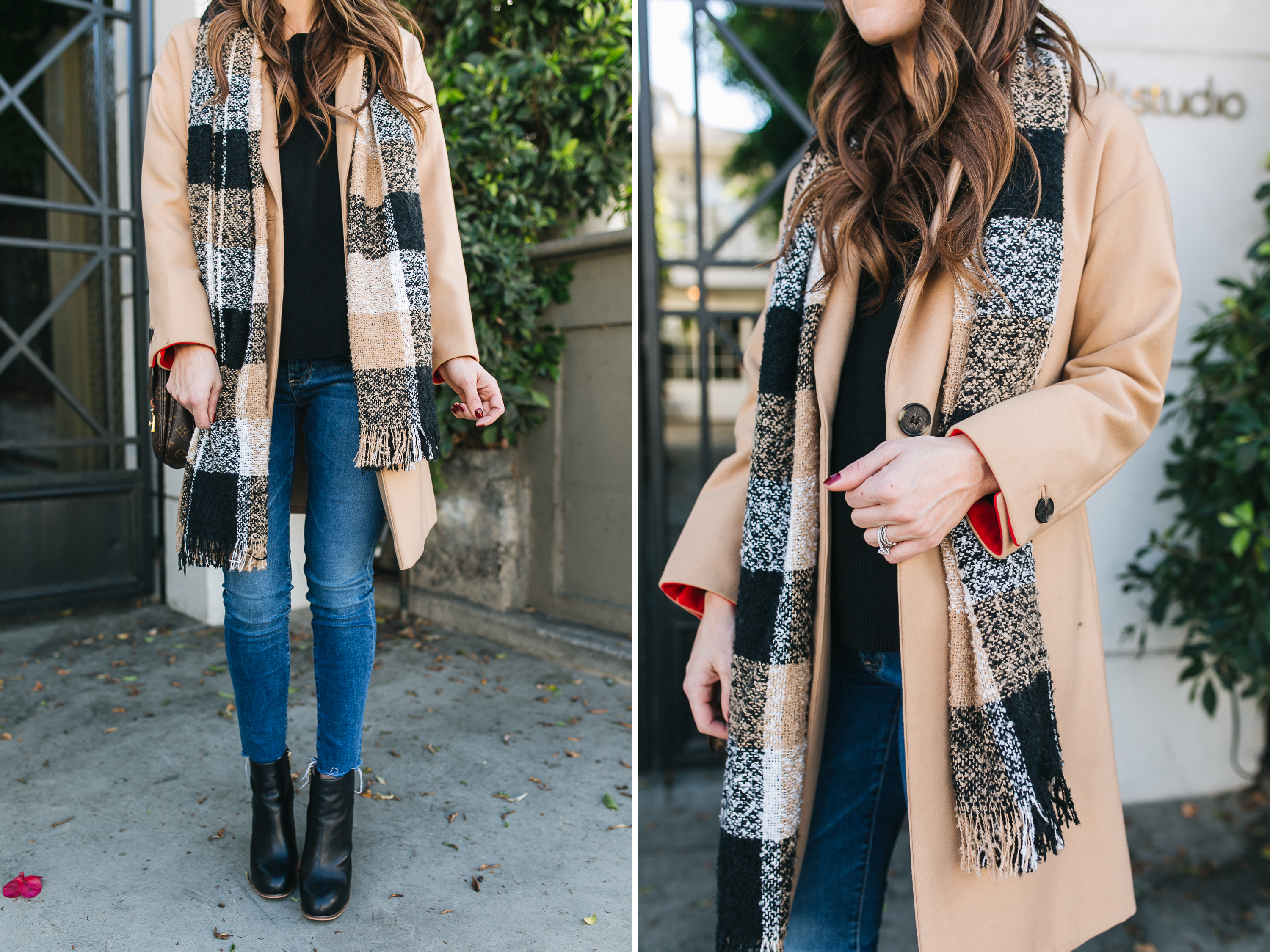Style blogger Daryl-Ann Denner rounds up top 10 coats under $200 and styles a camel trench coat with black booties
