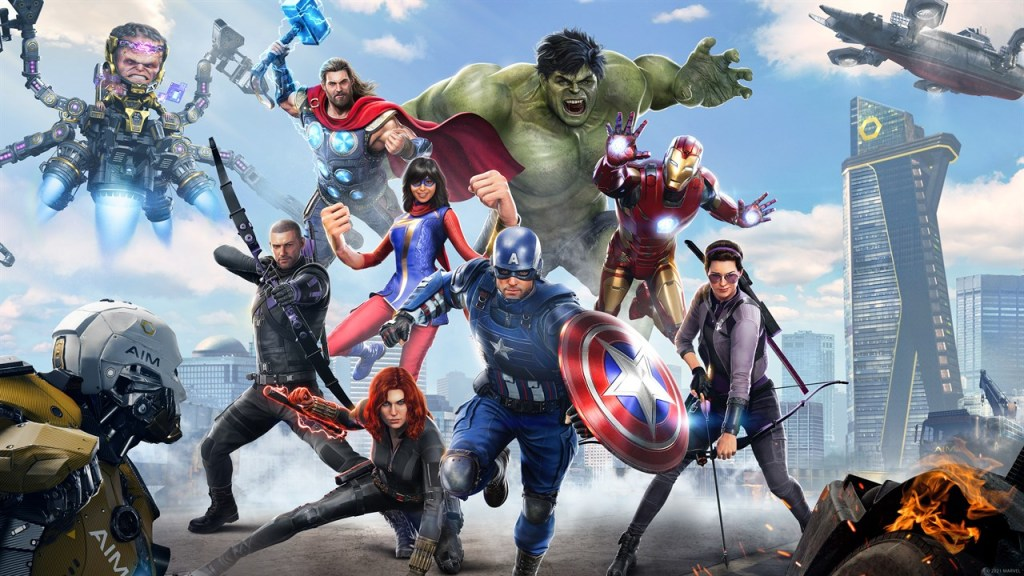 The roster of the Avenger's game, with Captain America, Iron Man, Hulk, Black Widow, Hawkeye, Ms. Marvel, and Thor.
