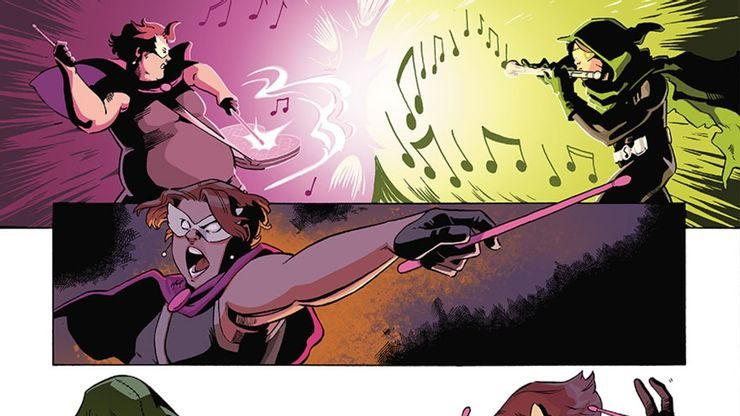 Pied Piper and Drummer Boy have a fight to see whose mind-controlling instrument is superior.