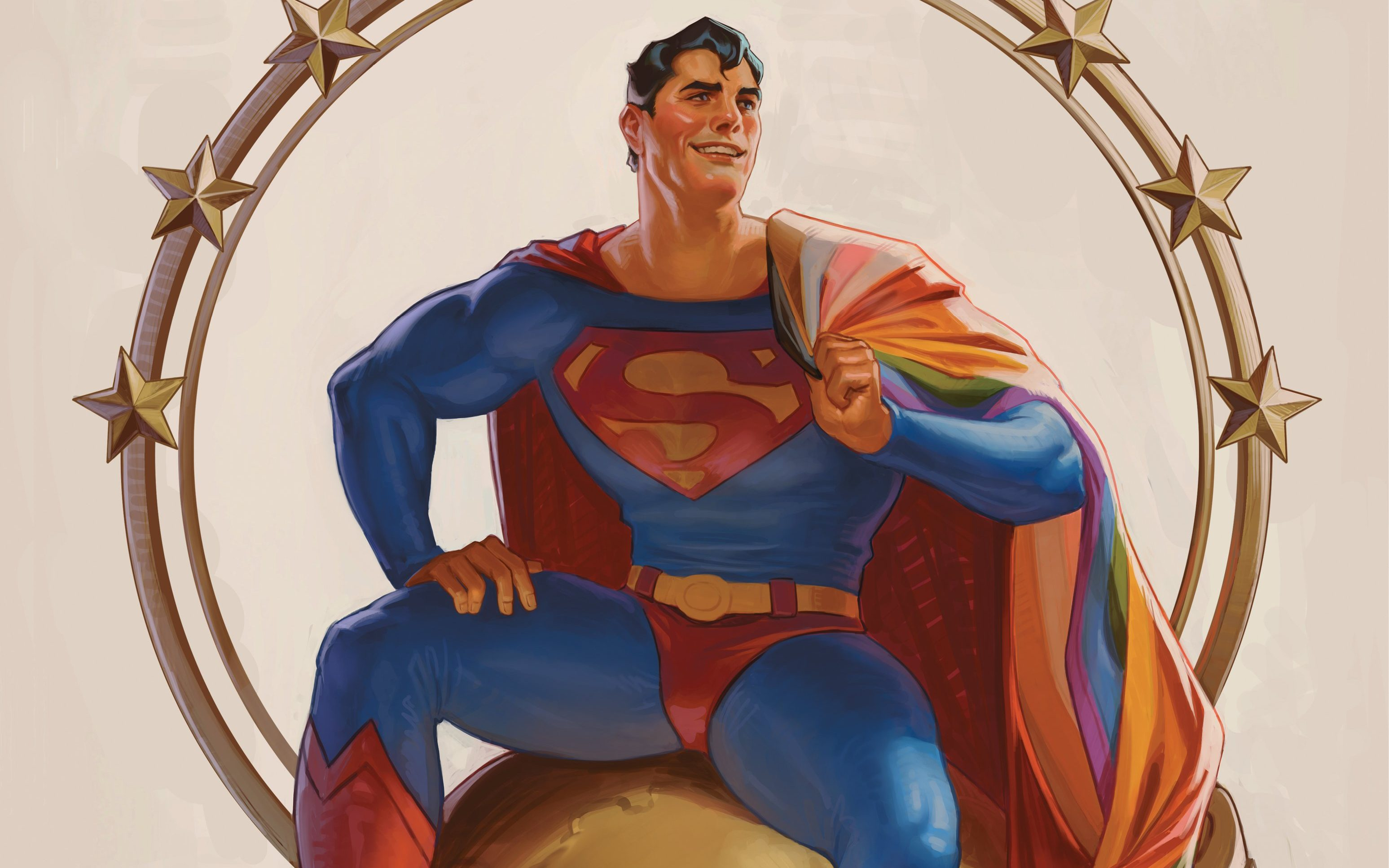 Superman sits on top of the daily planet with the pride flag draped over his shoulder.