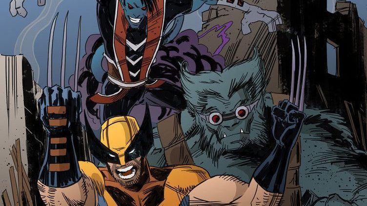 Wolverine, Beast, and Nightcrawler standing side-by-side, representative of how they would look in a X-Men game.