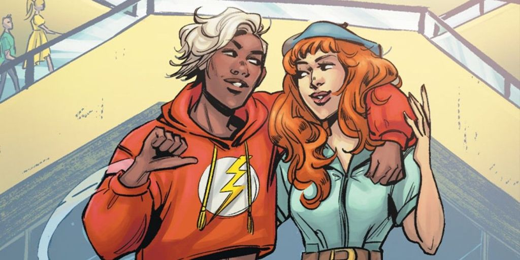 Jess Chambers, the Flash, and Andy Curry, Aquawoman, talking about their date later in DC Pride #1.