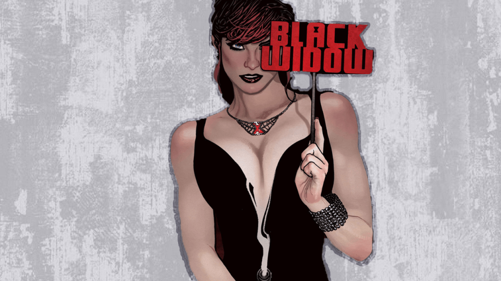Black Widow is in front of a cement wall with a smoking gun and a mask that has her name on it.