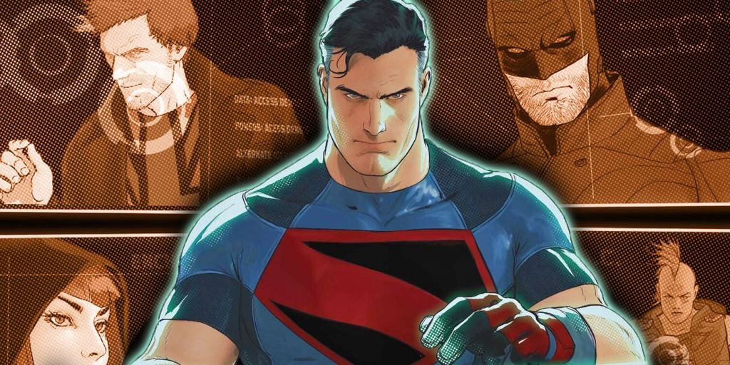 Superman stands in the middle with Manchester Black in the top left corner on a tv screen behind him, Midnighter on a screen to the top right, Enchantress to the bottom left, and Omac to the bottom right.