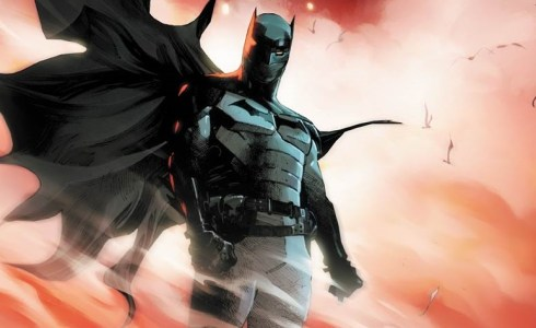 The cover of I Am Batman #0, with Jace Fox suited up in the Batsuit, with dust and smoke surrounding him.