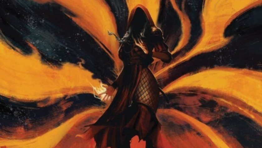 Planeswalker Jaya Ballard has hands of fire and is surrounded by flames.