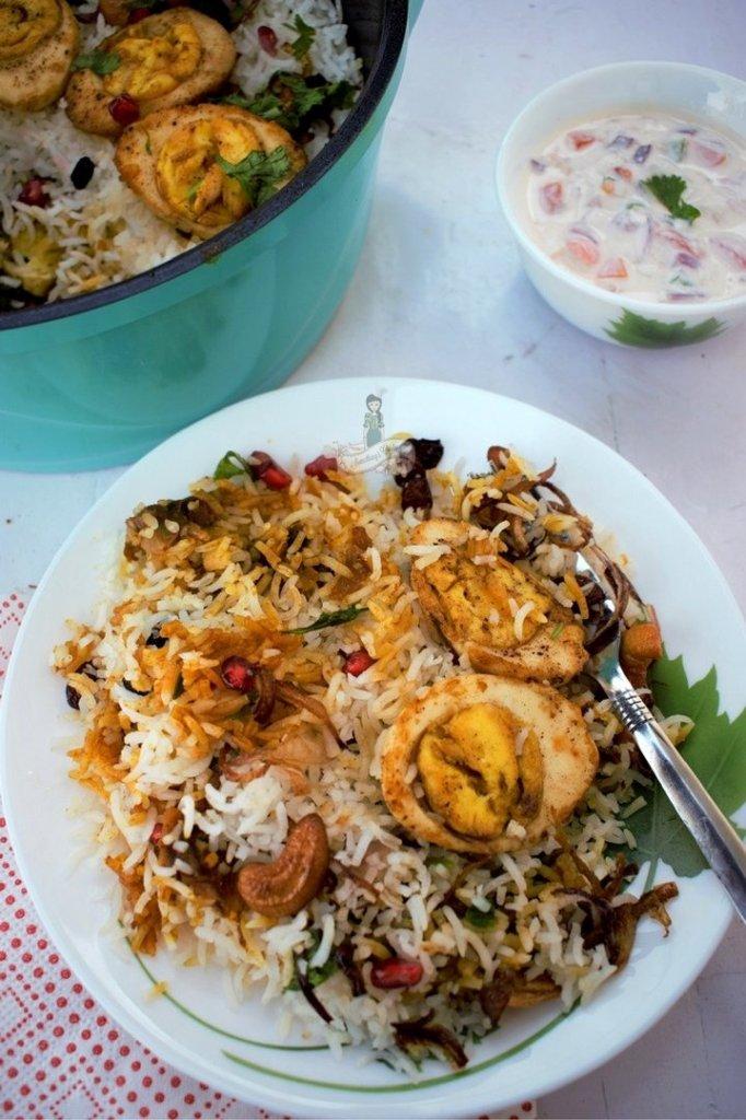 fried egg biriyani - egg roast - leftover rice - one pot meal