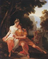 Propertius and Cynthia at Tivoli, by Auguste Jean Baptiste Vinchon
