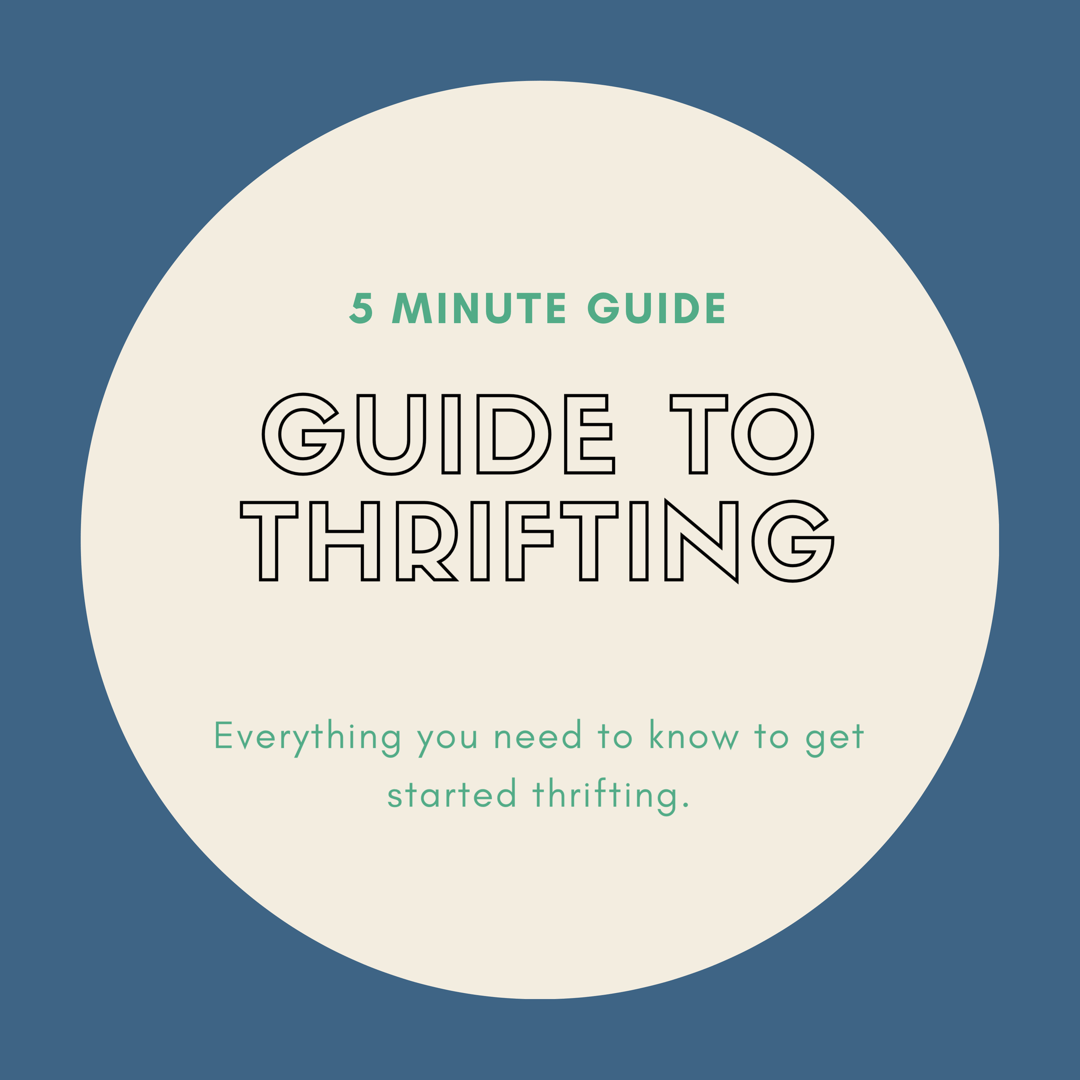 blue backroud with white circle. 5 minute guide to thrifting, everything you need to know.