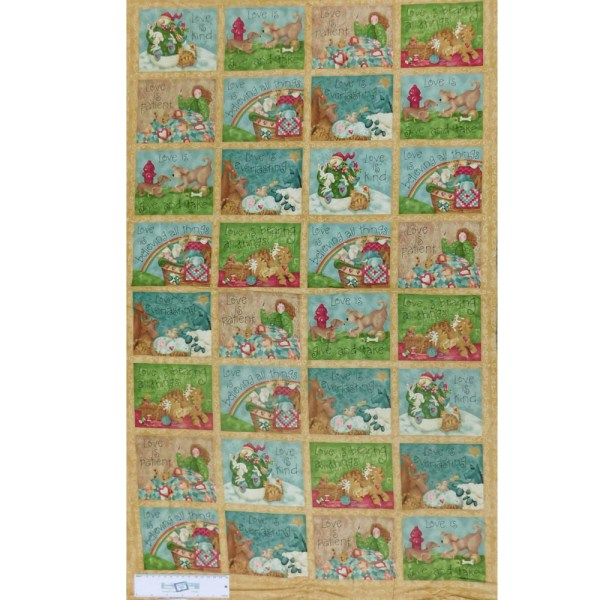 Quilting Patchwork Sewing Fabric LOVE IS Cotton Panel 60X110cm Material New