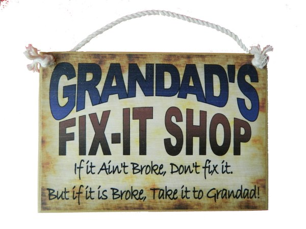 Country Printed Personalized Wooden Sign and Hanger Dad, Grandad, Pop, Opa Fix It
