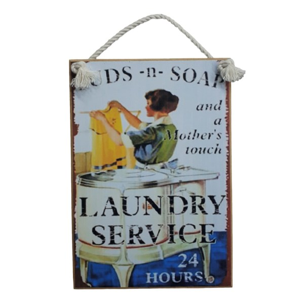 Country Printed Quality Wooden Sign SUDS AND SOAK LAUNDRY Plaque New