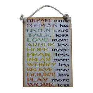 Country Printed Quality Wooden Sign Dream Complain Listen Plaque New