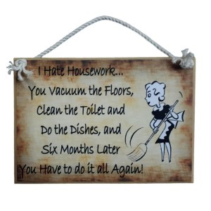 Country Printed Quality Wooden Sign I HATE HOUSEWORK Funny Inspiring Plaque New