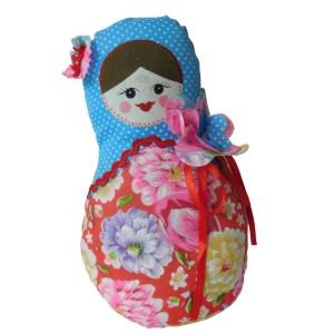 Cute Stuffed Fabric Russian Doll Babushka Style Pink Single Freestanding New