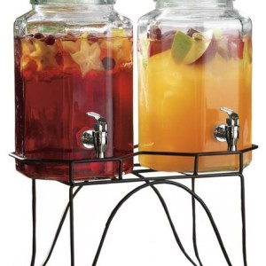 Set of 2 Glass Drink Dispensers with Wrought Iron Stand