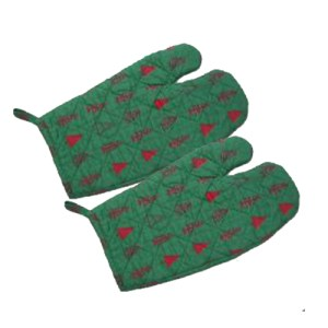 Kitchen Cooking Oven Gloves Set of 2 GREEN CHRISTMAS Pot Mitts New