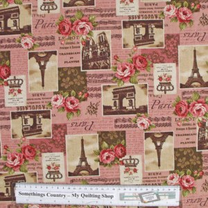 Patchwork Quilting Sewing Fabric Linen Allover Paris Roses Pink 50x55cm FQ New